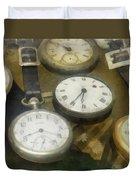 Vintage Pocket Watches Duvet Cover