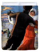 Vintage Poster Couples Skating At Christmas On Frozen Pond Duvet Cover