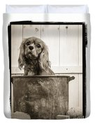 Vintage Puppy Bath Duvet Cover by Edward Fielding