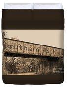 Vintage Railway Bridge In Sepia Duvet Cover