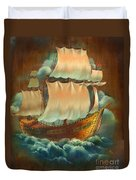 Vintage Sail On Wood Duvet Cover