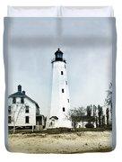 Vintage Sandy Hook Lighthouse Duvet Cover