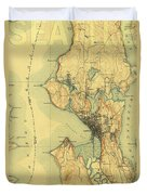 Vintage Seattle Map Duvet Cover