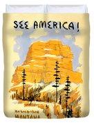 Vintage See America Travel Poster Duvet Cover