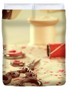 Vintage Sewing Items Duvet Cover by Amanda Elwell