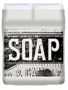 Vintage Soap Crate In Black And White Duvet Cover