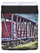 Vintage Steam Locomotive Carriages Duvet Cover