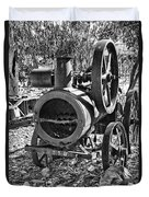 Vintage Steam Tractor Black And White Duvet Cover by Douglas Barnard
