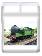 Vintage Steam Train In Green  Duvet Cover