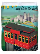 Pittsburgh Poster - Incline Duvet Cover