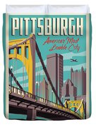 Pittsburgh Poster - Vintage Travel Bridges Duvet Cover