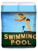 Vintage Swimming Lady Hotel Sign Duvet Cover