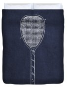 Vintage Tennnis Racket Patent Drawing From 1887-navy Blue Duvet Cover