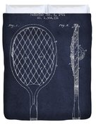 Vintage Tennnis Racket Patent Drawing From 1921 - Navy Blue Duvet Cover