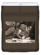 Vintage Young Woman Writing  Duvet Cover