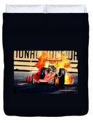 Vintage Top Fuel Dragster Fire Burnout-wild Bill Carter Duvet Cover