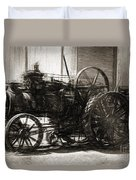 Vintage Tractor Drawing In Industrialised 1900s Duvet Cover
