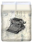 Vintage Typewriter French Letters Square Format Duvet Cover