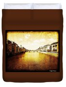 Vintage View Of River Arno Duvet Cover