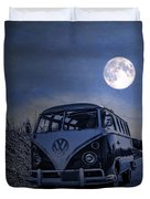 Vintage Vw Bus Parked At The Beach Under The Moonlight Duvet Cover