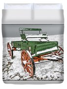Vintage Wagon In The Snow E98 Duvet Cover