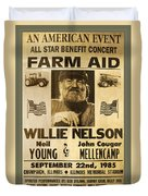 Vintage Willie Nelson 1985 Farm Aid Poster Duvet Cover