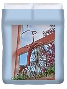 Vintage Wrought Iron Bike In Window Art Prints Duvet Cover
