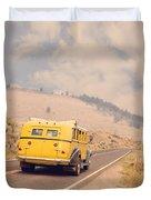 Vintage Yellowstone Bus Duvet Cover