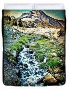 Vintaged Mount Hood Postcard Duvet Cover