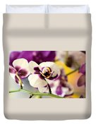 Violet Orchids Brushed With Gold Duvet Cover