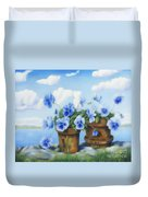 Violets On The Beach Duvet Cover
