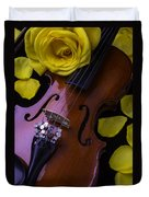 Violin With Yellow Rose Duvet Cover