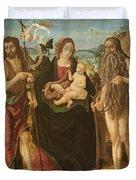 Virgin And Child Between St. John Duvet Cover