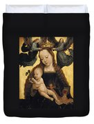 Virgin And Child With Angels Duvet Cover