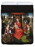 Virgin And Child With Saints Catherine Of Alexandria And Barbara Duvet Cover