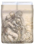 Virgin And Child With St. Anne Duvet Cover by Leonardo da Vinci