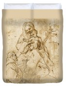 Virgin And Child With Saint Francis Duvet Cover