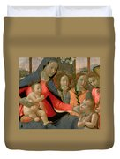 Virgin And Child With St John The Baptist And The Three Archangels Duvet Cover