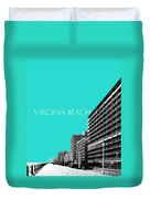 Virginia Beach Skyline Boardwalk  - Aqua Duvet Cover