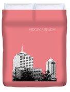 Virginia Beach Skyline - Light Red Duvet Cover