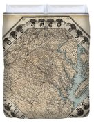 Virginia Map With Civil War Heroes Duvet Cover