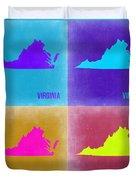 Virginia Pop Art Map 2 Duvet Cover