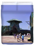 Visitors Heading Towards The Waterworld Attraction Duvet Cover