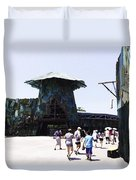 Visitors Heading Towards The Waterworld Attraction At Universal Studios Duvet Cover