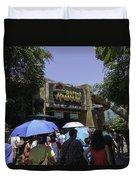 Visitors Thronging The Jurassic Park Rapids Adventure Ride Duvet Cover