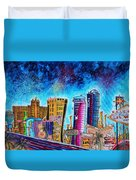 Viva Las Vegas A Fun And Funky Pop Art Painting Of The Vegas Skyline And Sign By Megan Duncanson Duvet Cover