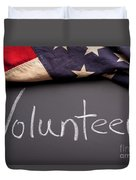 Volunteer Sign On Chalkboard Duvet Cover