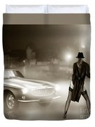 Volvo P1800 And Hot Detective Duvet Cover