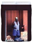 Voodoo Busker In New Orleans Duvet Cover