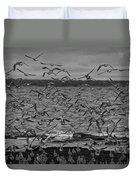 Wading Birds-black And White Duvet Cover
